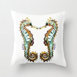 Seahorses - colorful sea love Throw Pillow