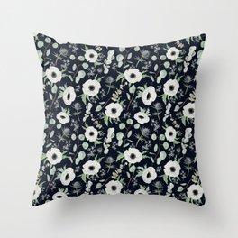 Moody Anemones Throw Pillow