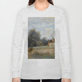 """Jean-Baptiste-Camille Corot """"Luzancy, small peasant houses by the water"""" Long Sleeve T-shirt"""