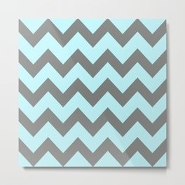 Aque Blue and Grey Chevron Metal Print