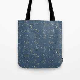 Zodiac Constellations in Neptune Blue Tote Bag