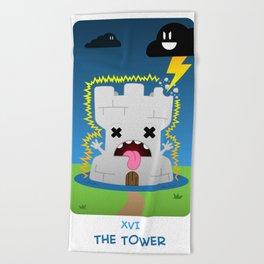 The Chibi Tarot - XVI The Tower Beach Towel