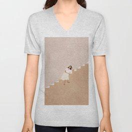 Girl Thinking on a Stairway Unisex V-Neck