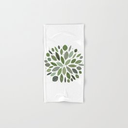 Mid-Century Green Leaves Hand & Bath Towel