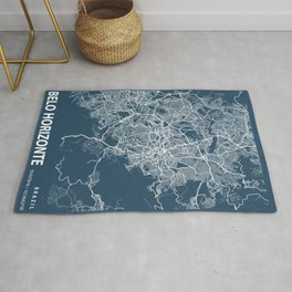 Belo Horizonte Blueprint Street Map, Belo Horizonte Colour Map Prints Rug