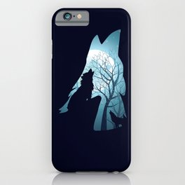Blue moon and wolf howling iPhone Case
