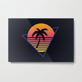 Retrowave sunset 3 / 80s - 90s Retro Metal Print