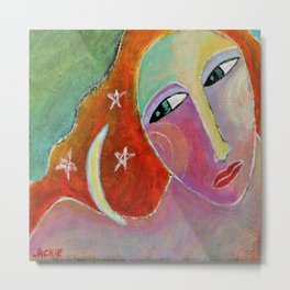 Moon on My Shoulder Abstract Painting Metal Print