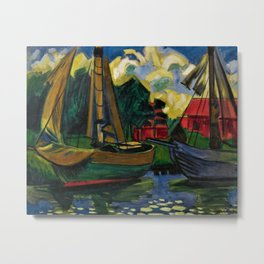 Boats in the Harbor by Hermann Max Pechstein Metal Print