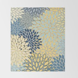 Floral Print, Yellow, Gray, Blue, Teal Throw Blanket