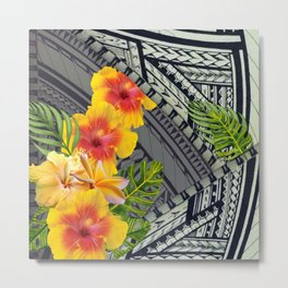 Hawaiian Hibiscus and Tapa  Metal Print