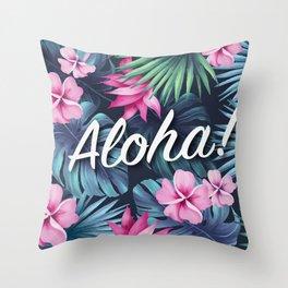 Aloha Floral Composition Throw Pillow