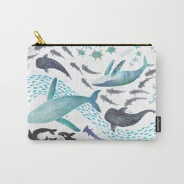 Sharks, Humpback Whales, Orcas & Turtles Ocean Play Print Carry-All Pouch