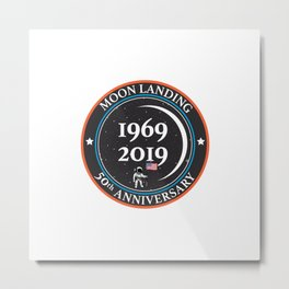 Moon landing 50th year anniversary badge Metal Print