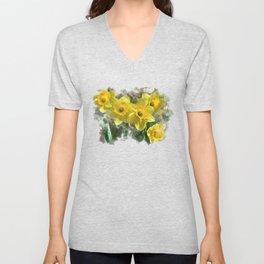 Watercolor Daffodils Unisex V-Neck