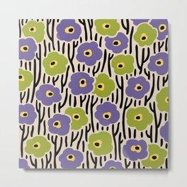 Mid Century Modern Wild Flowers Pattern Purple and Green Metal Print