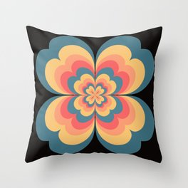 Vintage Flower Blooming On Black Flower Child Throw Pillow