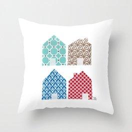 4 casitas esgrafiadas con colores. Houses. House. Throw Pillow