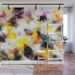 geometric triangle pattern abstract background in yellow brown pink Wall Mural