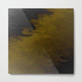 Golden Earth Flowing Runoff Liquified Metal Print