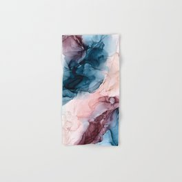 Pastel Plum, Deep Blue, Blush and Gold Abstract Painting Hand & Bath Towel