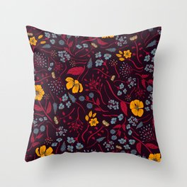 Mustard Yellow, Burgundy & Blue Floral Pattern Throw Pillow