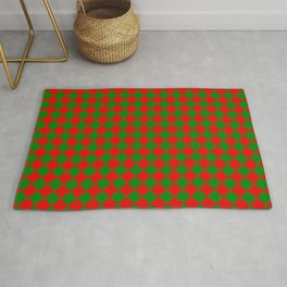 VERY SMALL green and red CHRISTMAS HARLEQUIN DIAMOND PATTERN Rug