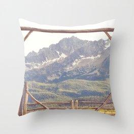 Western Mountain Ranch Throw Pillow