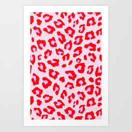 Leopard Print - Red And Pink Art Print