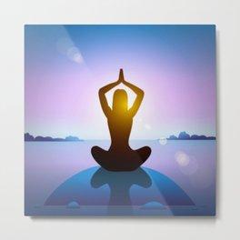 Yoga Studio Calming Purple / Blue Sukhasana Pose Metal Print
