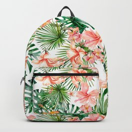 Tropical Jungle Hibiscus Flowers - Floral Backpack
