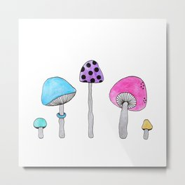 Colorful Shrooms Metal Print