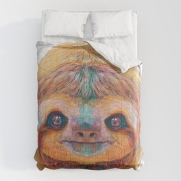 Bradypus Sloth Face High Constrast Cinematic Style Mammal Front Comforters