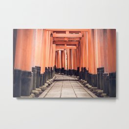 Fushimi Inari Taisha Torii Gates in Kyoto, Japan Photography Metal Print