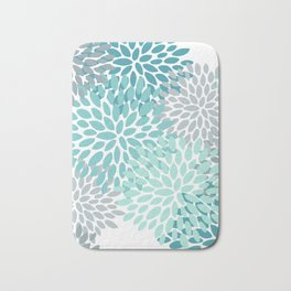 Floral Pattern, Aqua, Teal, Turquoise and Gray Bath Mat