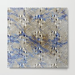 Optical Illusion: Geometric Weave Texture Design Metal Print
