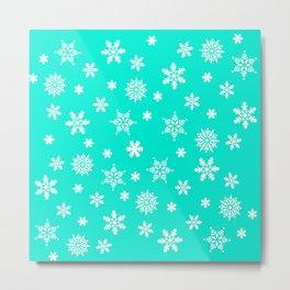 Snow Flurries-Frosty Blue Metal Print