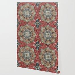 Antique Red Blue Black Persian Carpet Print Wallpaper