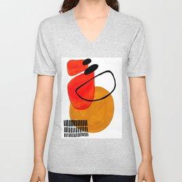 Mid Century Modern Abstract Vintage Pop Art Space Age Pattern Orange Yellow Black Orbit Accent Unisex V-Neck