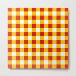 Red White Yellow Checkerboard Pattern Metal Print