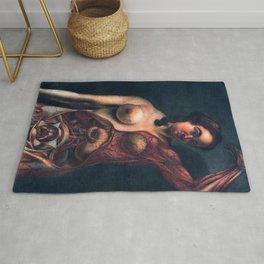 Anatomy art PREGNANT WOMAN DISSECTION dark art, gothic home decor gothic decor, gothic wall decor Rug