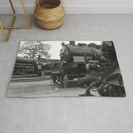 Old steam locomotive in the depot ZUG003CBx Le France black and white fine art photography by Ksavera Rug