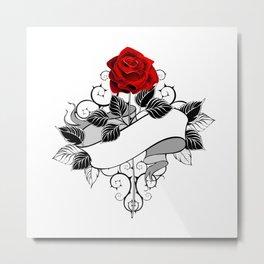 Red Rose with Ribbon Metal Print