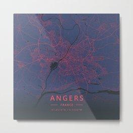Angers, France - Neon Metal Print