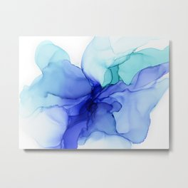 Blue Floral Abstract Ink Metal Print