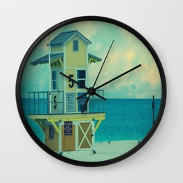 Beach Sunrise Lifeguard Hut Print Wall Clock