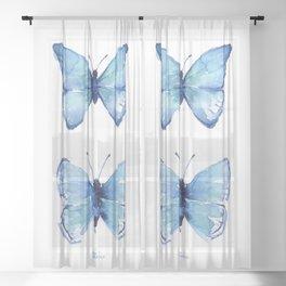 Two Blue Butterflies Watercolor Sheer Curtain