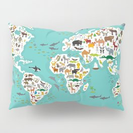 Cartoon animal world map for children and kids, Animals from all over the world back to school Pillow Sham