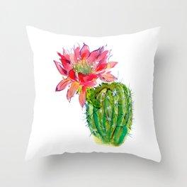 Blooming Dwarf Chin Cacti Throw Pillow