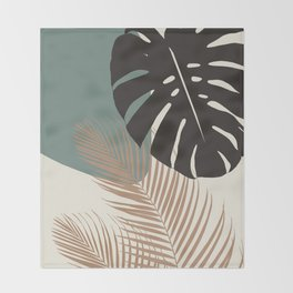 Minimal Monstera Palm Finesse #1 #tropical #decor #art #society6 Throw Blanket